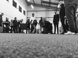 Rehearsal still, Good Friday b&w