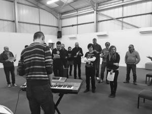 Rehearsal still, Good Friday b&w3